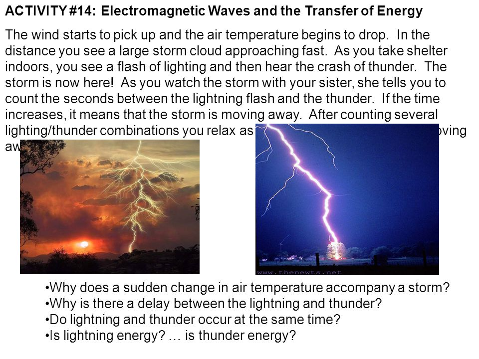 ACTIVITY #14:Electromagnetic Waves and the Transfer of Energy The wind starts to pick up and the air temperature begins to drop. In the distance you s
