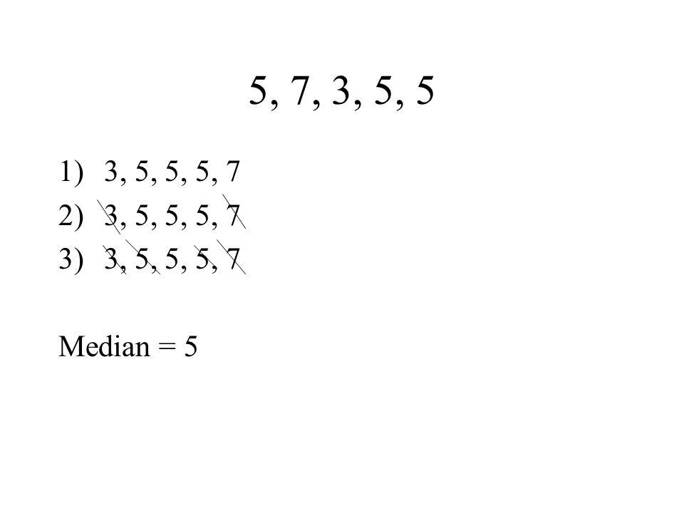 5, 7, 3, 5, 5 1)3, 5, 5, 5, 7 2)3, 5, 5, 5, 7 3)3, 5, 5, 5, 7 Median = 5