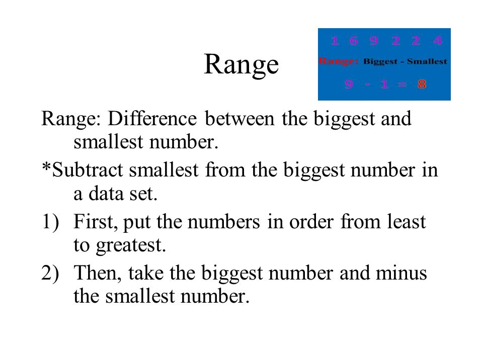 Range Range: Difference between the biggest and smallest number.