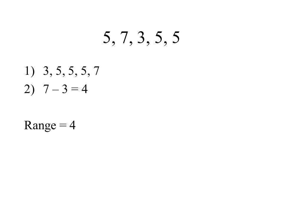 5, 7, 3, 5, 5 1)3, 5, 5, 5, 7 2)7 – 3 = 4 Range = 4
