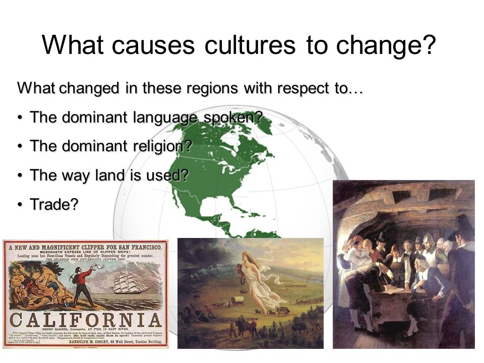 And then this happened… What changed in these regions with respect to… The dominant language spoken? The dominant religion? The way land is used? Trad