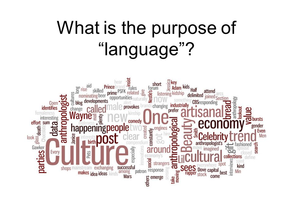 What is the purpose of language