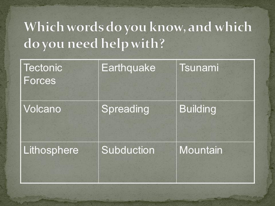 Tectonic Forces EarthquakeTsunami VolcanoSpreadingBuilding LithosphereSubductionMountain