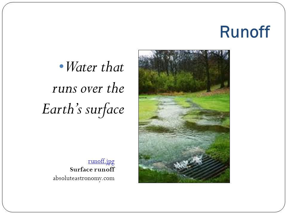 Runoff Water that runs over the Earth's surface runoff.jpg Surface runoff absoluteastronomy.com