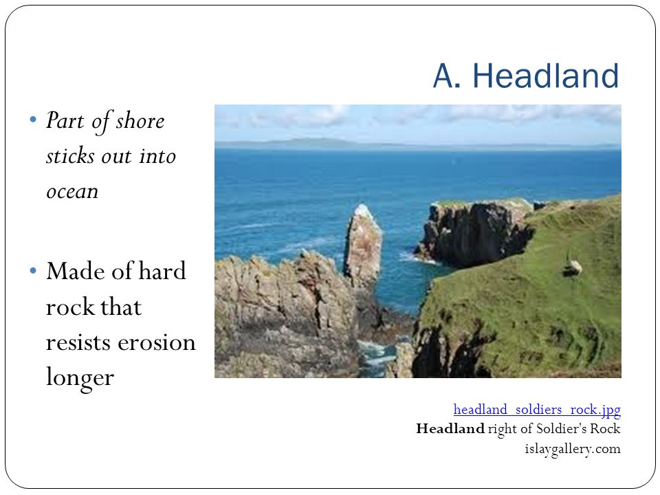 A. Headland Part of shore sticks out into ocean Made of hard rock that resists erosion longer headland_soldiers_rock.jpg Headland right of Soldier's R