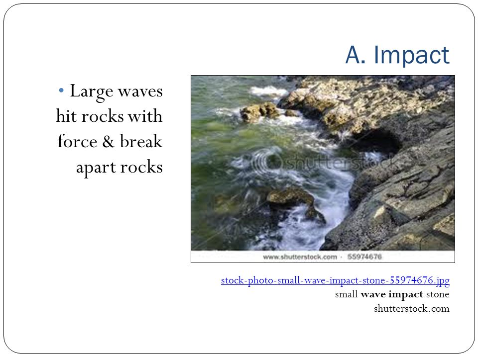 A. Impact Large waves hit rocks with force & break apart rocks stock ‑ photo ‑ small ‑ wave ‑ impact ‑ stone ‑ 55974676.jpg small wave impact stone sh