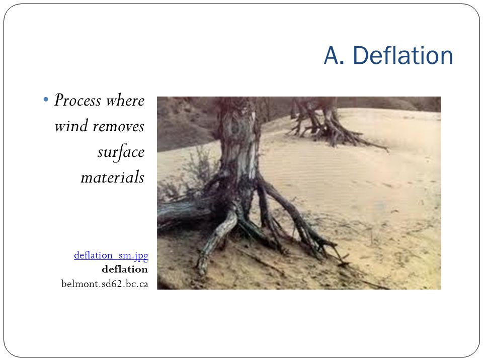 A. Deflation Process where wind removes surface materials deflation_sm.jpg deflation belmont.sd62.bc.ca