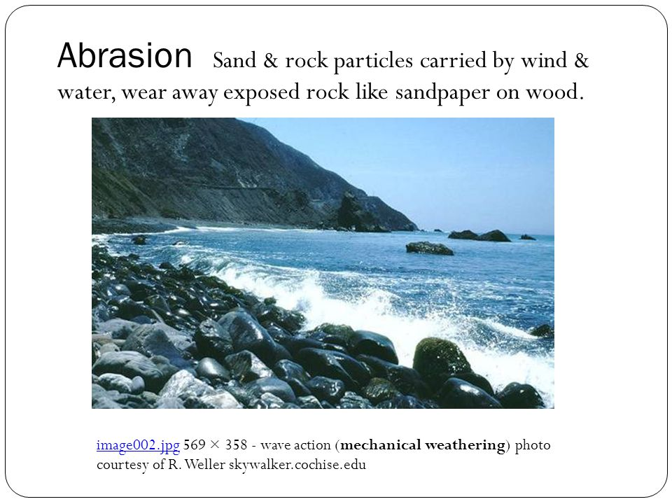 Abrasion Sand & rock particles carried by wind & water, wear away exposed rock like sandpaper on wood. image002.jpgimage002.jpg 569 × 358 - wave actio