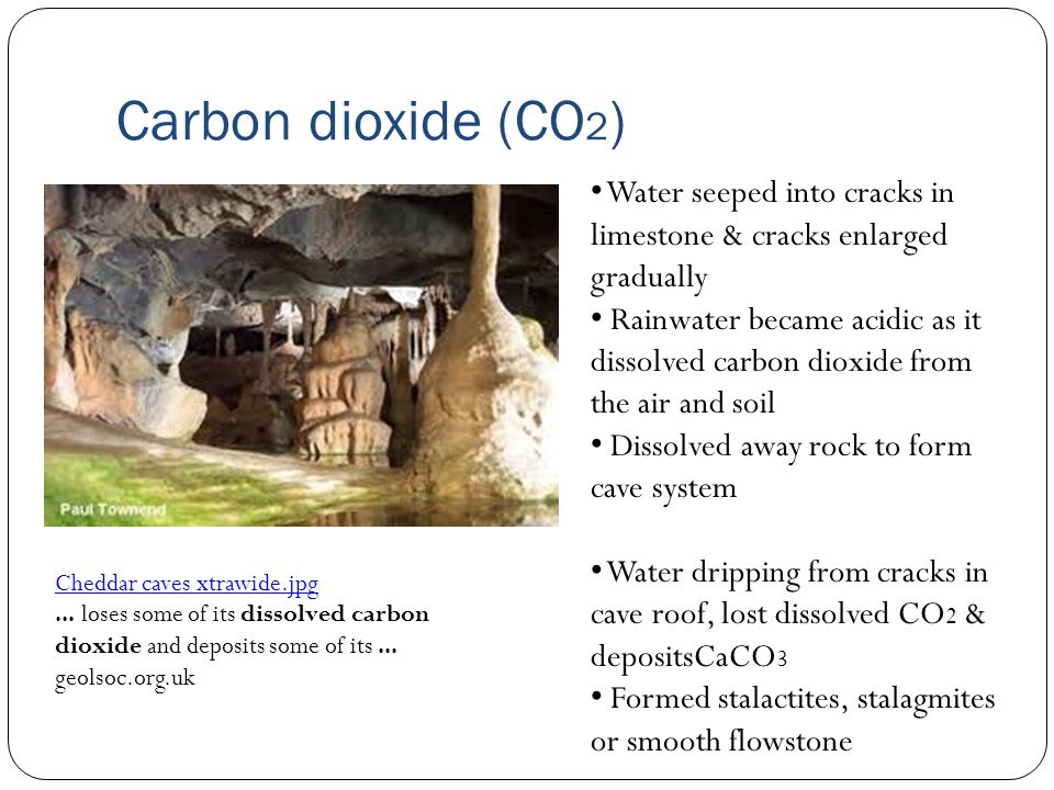 Carbon dioxide (CO 2 ) Cheddar caves xtrawide.jpg... loses some of its dissolved carbon dioxide and deposits some of its... geolsoc.org.uk Water seepe