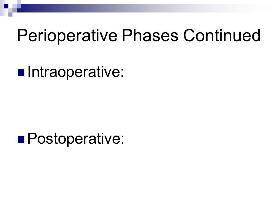 Perioperative Phases Continued Intraoperative: Postoperative: