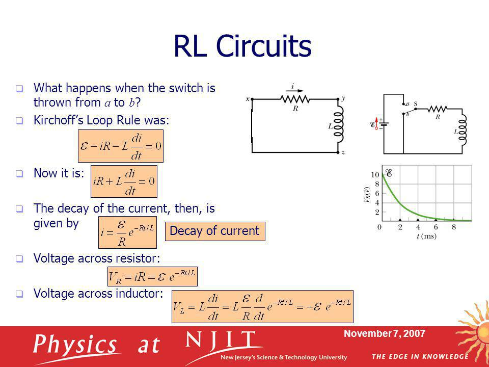 November 7, 2007 RL Circuits  What happens when the switch is thrown from a to b ?  Kirchoff's Loop Rule was:  Now it is:  The decay of the curren