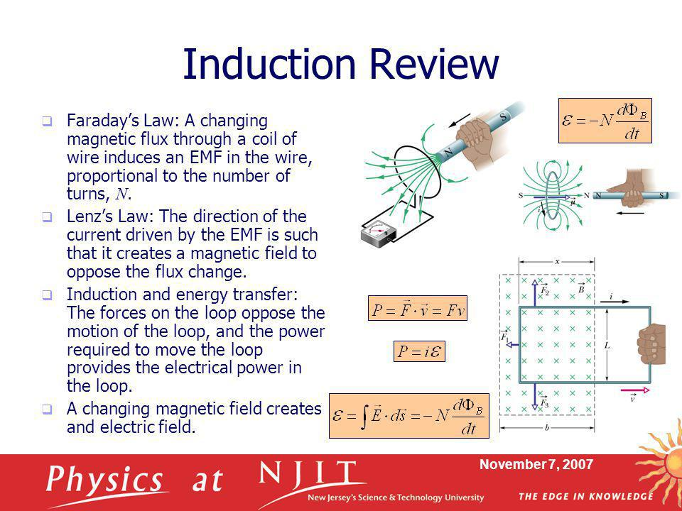 November 7, 2007 Induction Review  Faraday's Law: A changing magnetic flux through a coil of wire induces an EMF in the wire, proportional to the num