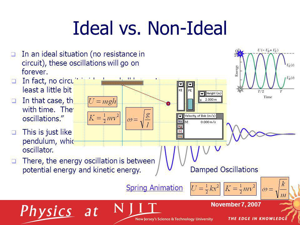 November 7, 2007 Ideal vs. Non-Ideal  In an ideal situation (no resistance in circuit), these oscillations will go on forever.  In fact, no circuit