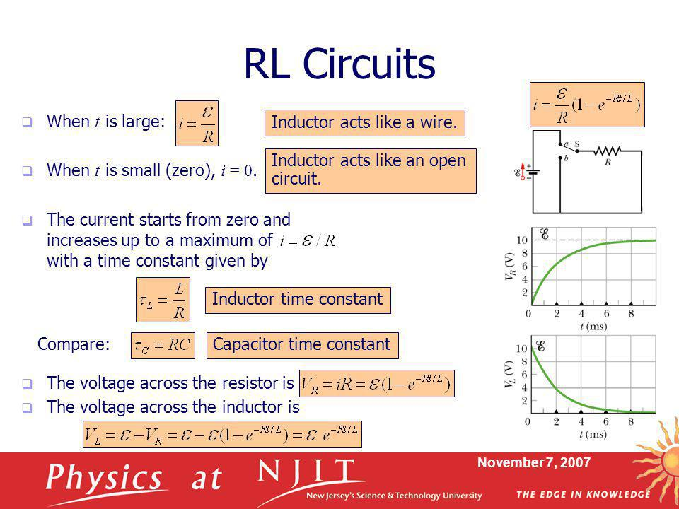November 7, 2007 RL Circuits  When t is large:  When t is small (zero), i = 0.