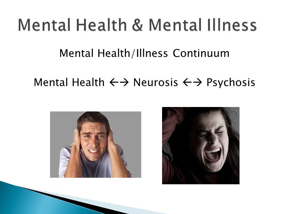 Mental Health/Illness Continuum Mental Health  Neurosis  Psychosis
