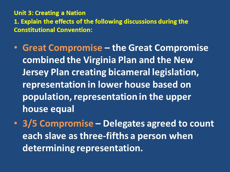 Unit 3: Creating a Nation 1. Explain the effects of the following discussions during the Constitutional Convention: Great Compromise – the Great Compr