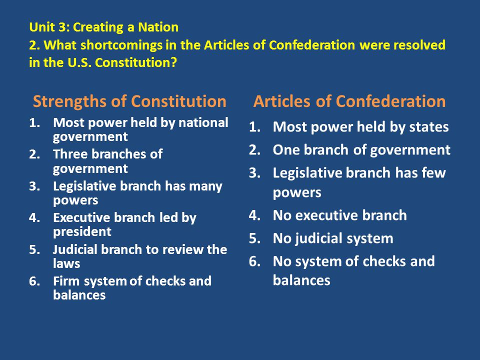Unit 3: Creating a Nation 2. What shortcomings in the Articles of Confederation were resolved in the U.S. Constitution? Strengths of Constitution 1.Mo
