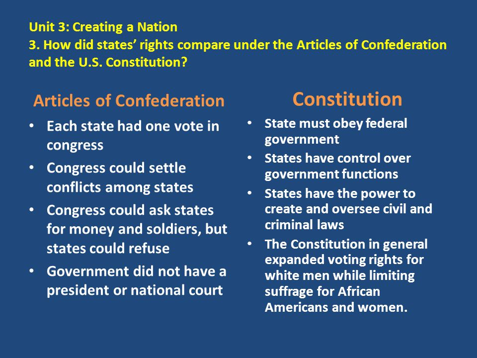essay comparing the articles of confederation and the constitution