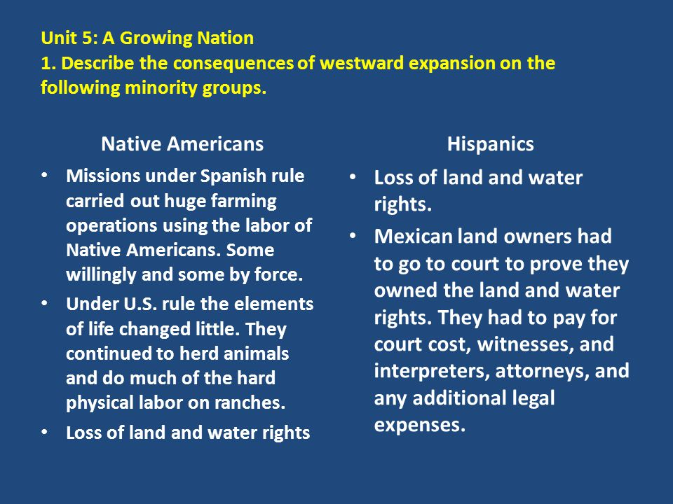 Unit 5: A Growing Nation 1. Describe the consequences of westward expansion on the following minority groups. Native Americans Missions under Spanish