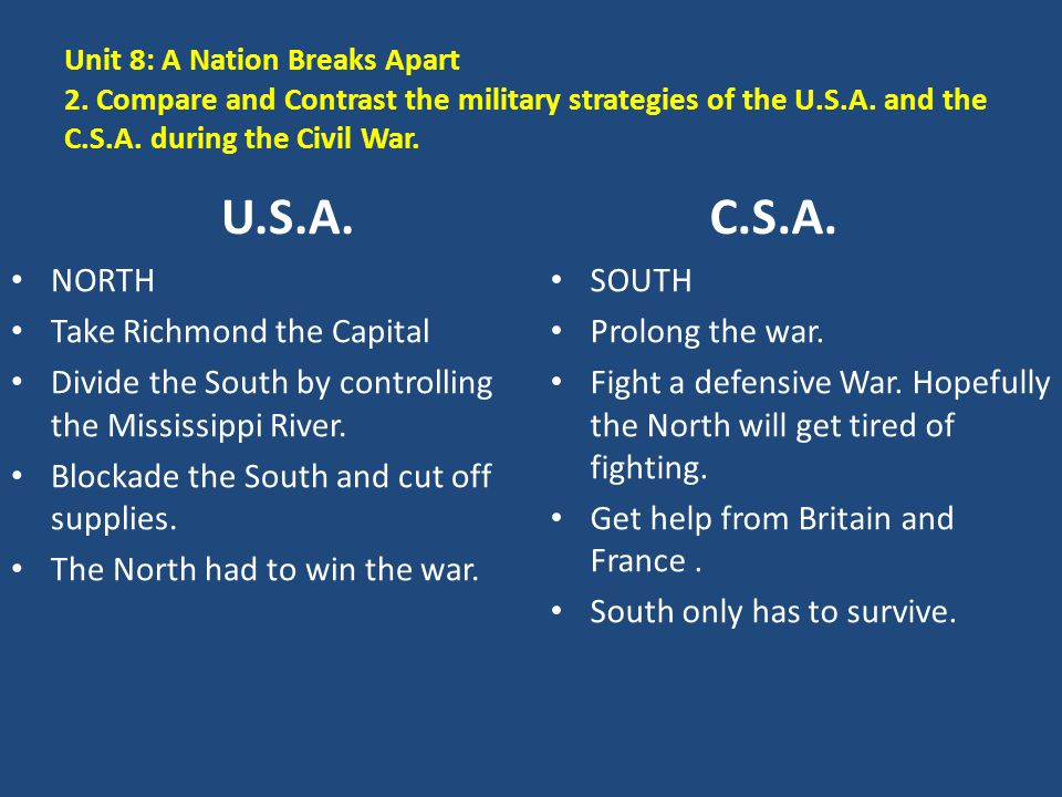 Unit 8: A Nation Breaks Apart 2. Compare and Contrast the military strategies of the U.S.A. and the C.S.A. during the Civil War. U.S.A. NORTH Take Ric