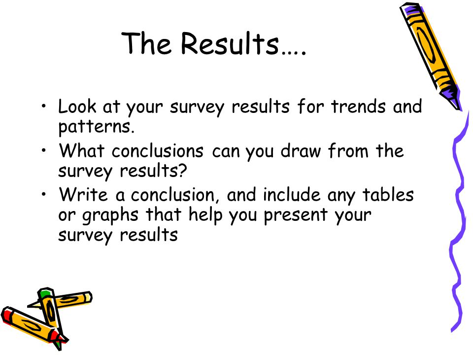 The Results…. Look at your survey results for trends and patterns. What conclusions can you draw from the survey results? Write a conclusion, and incl