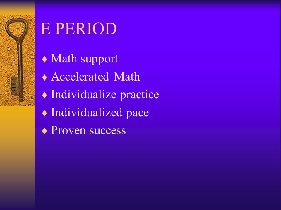 E PERIOD  E Period is 30 minutes.  Between 2nd and 3rd period.