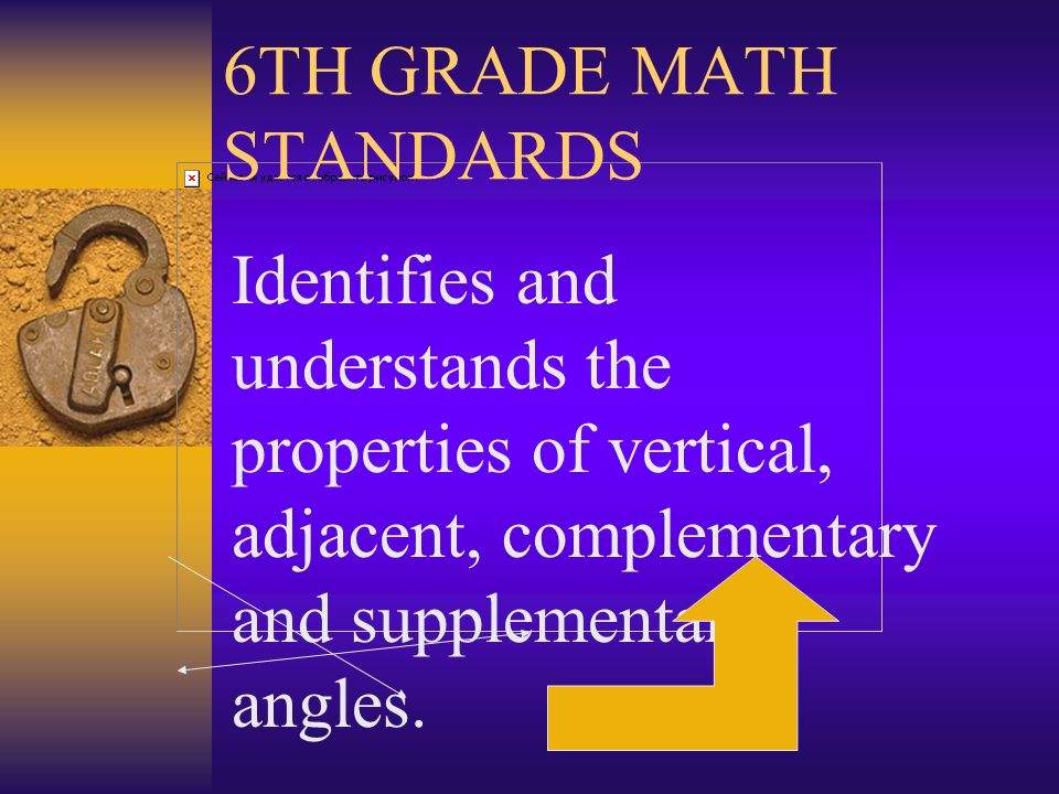 6TH GRADE MATH STANDARDS Uses variables to find perimeter, area, circumference and volume of a plane and solid shape.