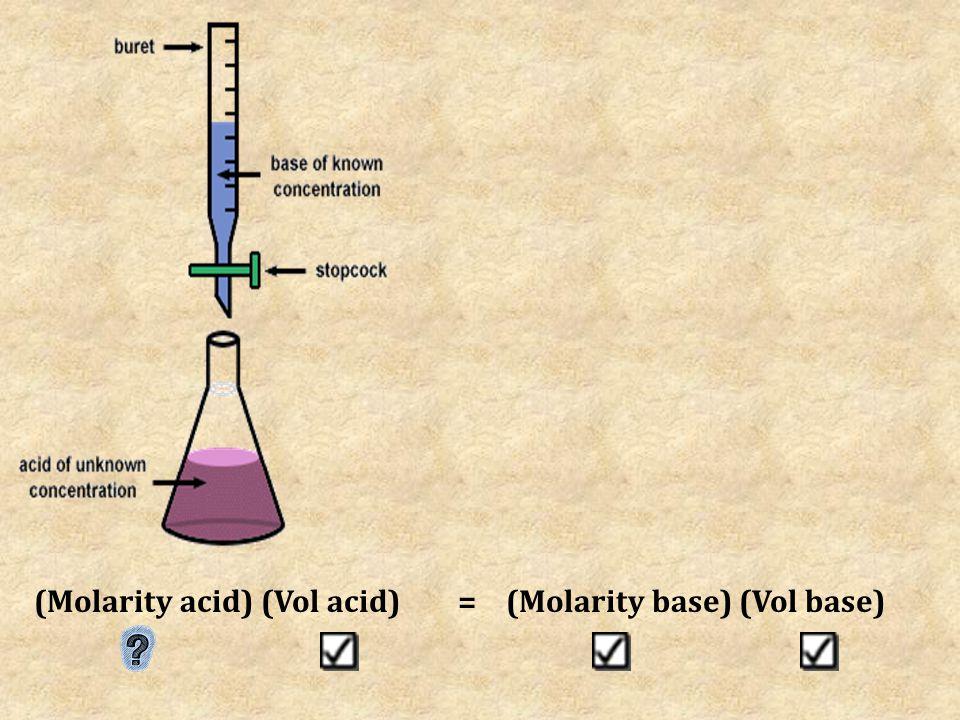 (Molarity acid) (Vol acid)=(Molarity base) (Vol base)