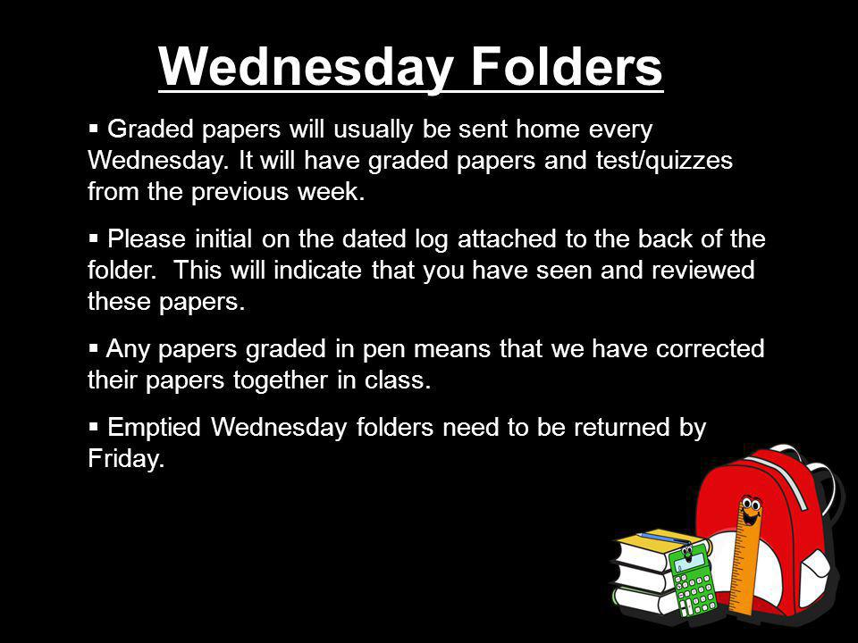 Wednesday Folders  Graded papers will usually be sent home every Wednesday.