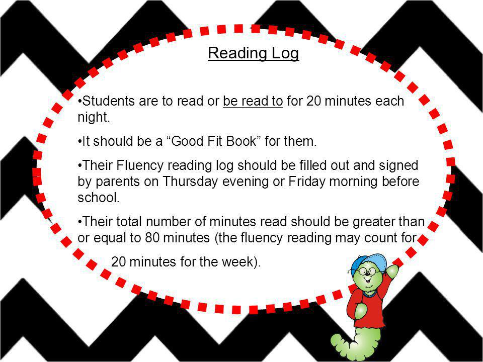 Students are to read or be read to for 20 minutes each night.