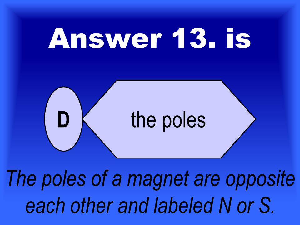 13.North or south describes what place on a magnet where the magnetic force is strongest.