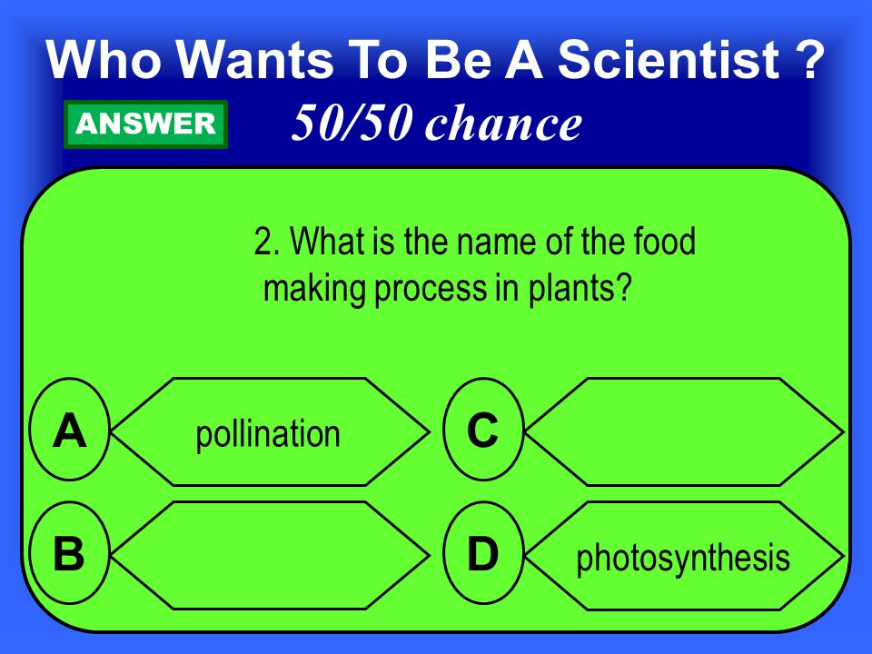 1. Which part of a plant helps it make food from sunlight, water and carbon dioxide.