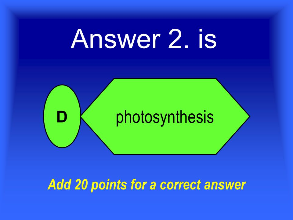 2. What is the name of the food making process in plants? pollination germination metamorphosis photosynthesis A B C D For 20 Points Who Wants To Be A