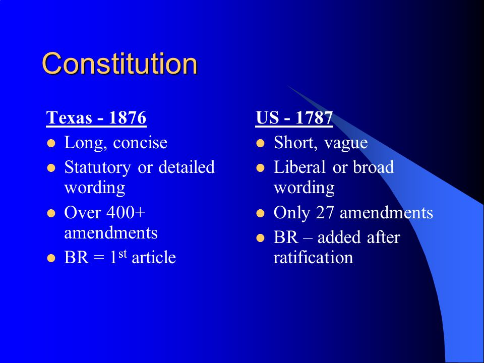 Constitution Texas - 1876 Long, concise Statutory or detailed wording Over 400+ amendments BR = 1 st article US - 1787 Short, vague Liberal or broad wording Only 27 amendments BR – added after ratification