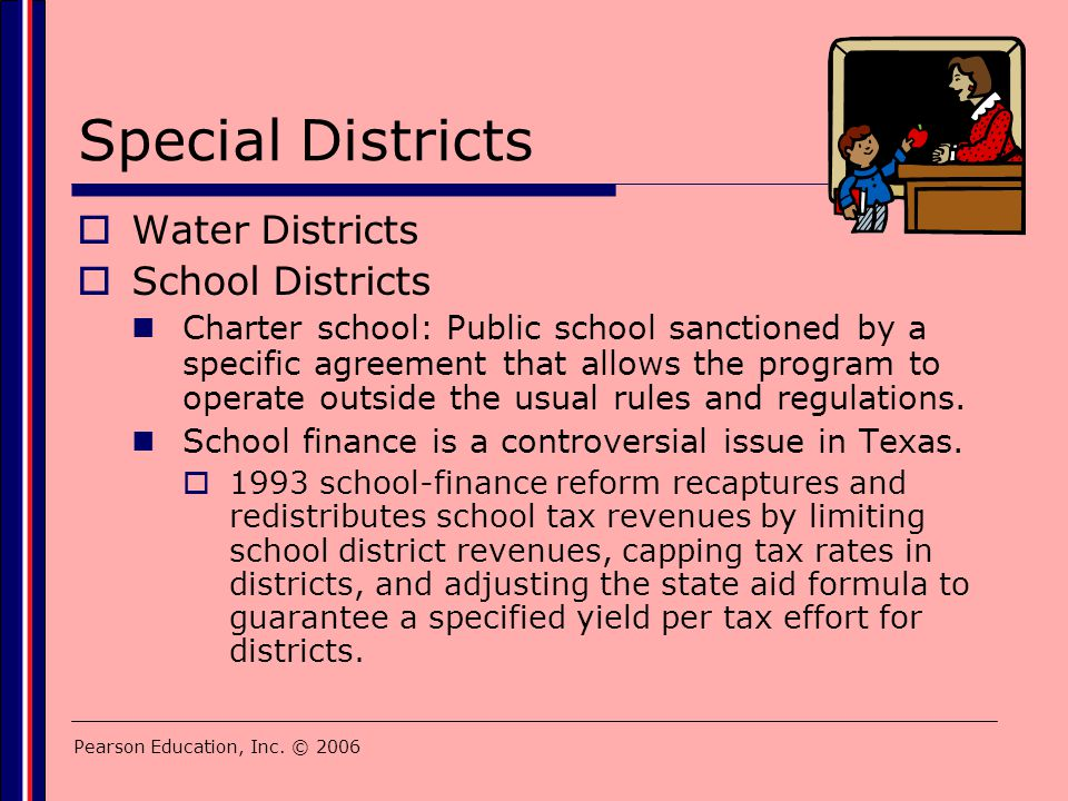 Pearson Education, Inc. © 2006 Special Districts  Water Districts  School Districts Charter school: Public school sanctioned by a specific agreement
