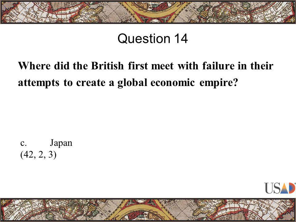 Where did the British first meet with failure in their attempts to create a global economic empire.