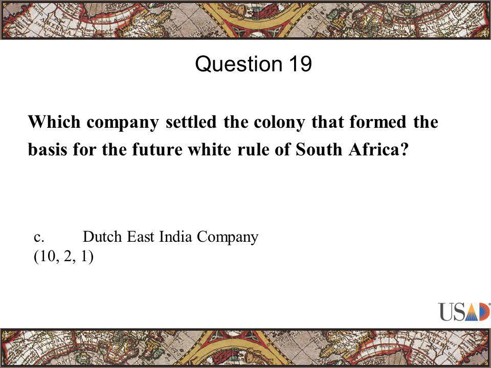 Which company settled the colony that formed the basis for the future white rule of South Africa.