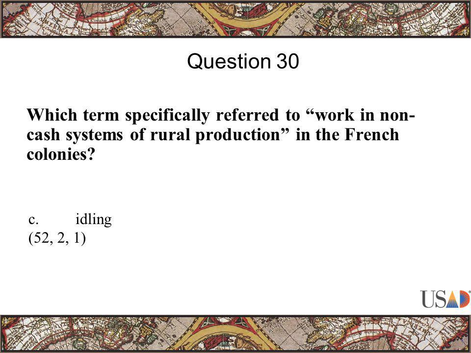 """Which term specifically referred to """"work in non- cash systems of rural production"""" in the French colonies? Question 30 c.idling (52, 2, 1)"""