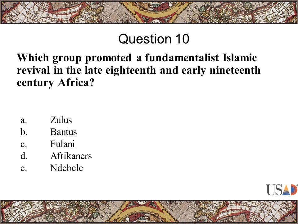 Which group promoted a fundamentalist Islamic revival in the late eighteenth and early nineteenth century Africa.