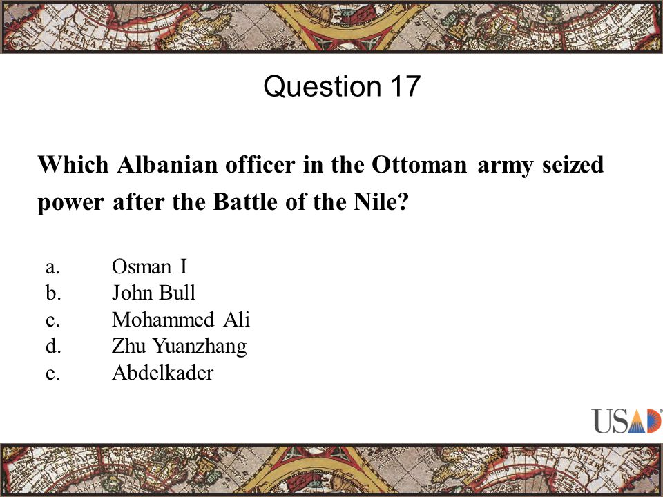 Which Albanian officer in the Ottoman army seized power after the Battle of the Nile.