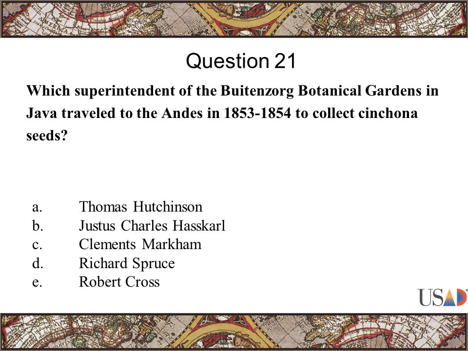 Which superintendent of the Buitenzorg Botanical Gardens in Java traveled to the Andes in 1853-1854 to collect cinchona seeds.