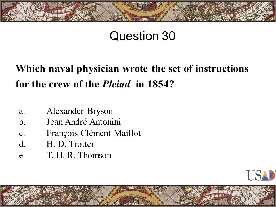Which naval physician wrote the set of instructions for the crew of the Pleiad in 1854.