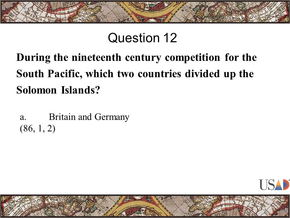 During the nineteenth century competition for the South Pacific, which two countries divided up the Solomon Islands.
