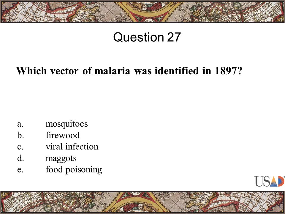 Which vector of malaria was identified in 1897.