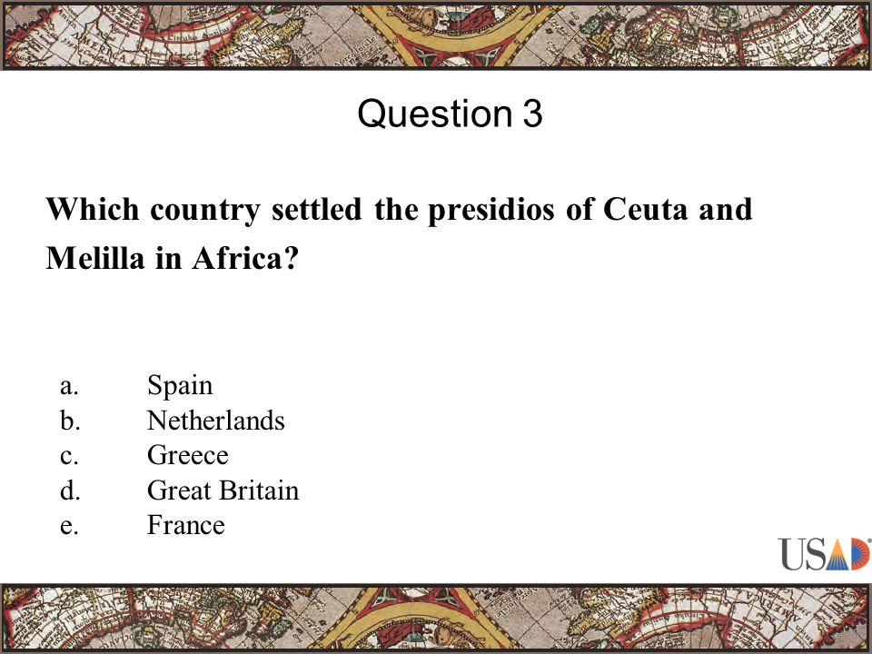 Which country settled the presidios of Ceuta and Melilla in Africa.