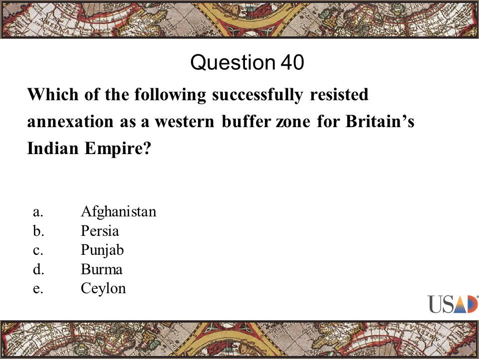 Which of the following successfully resisted annexation as a western buffer zone for Britain's Indian Empire.