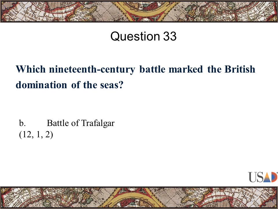 Which nineteenth-century battle marked the British domination of the seas.