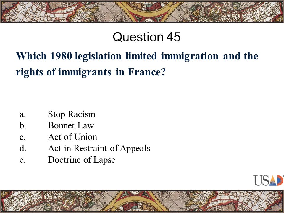 Which 1980 legislation limited immigration and the rights of immigrants in France.