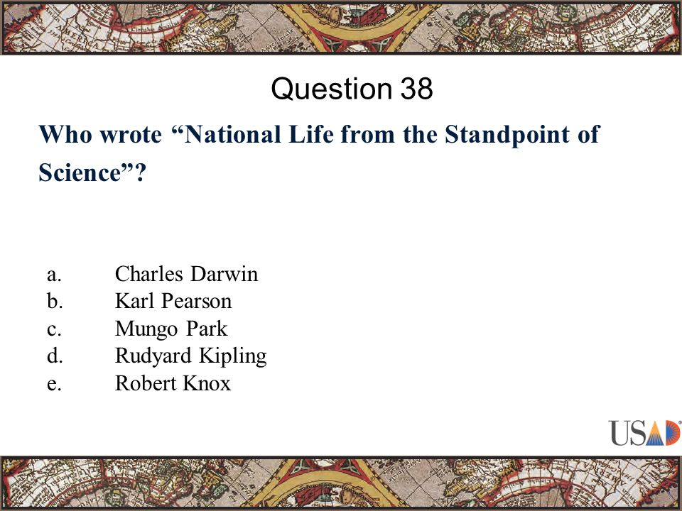 Who wrote National Life from the Standpoint of Science .