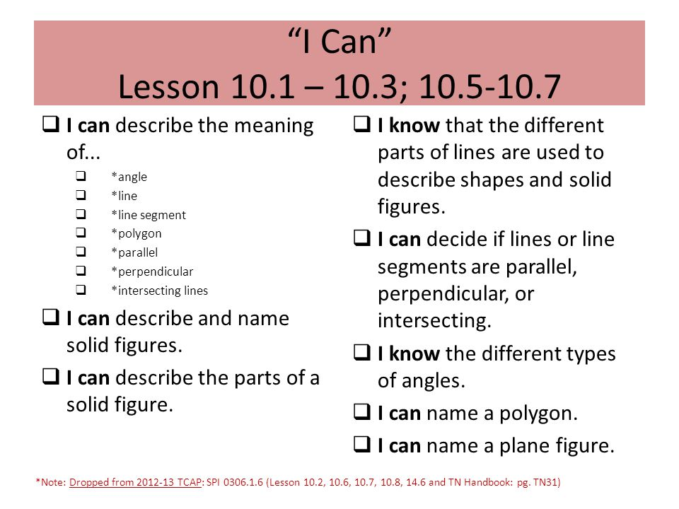 """""""I Can"""" Lesson 10.1 – 10.3; 10.5-10.7  I can describe the meaning of...  *angle  *line  *line segment  *polygon  *parallel  *perpendicular  *i"""